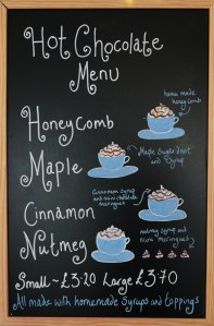 Hot Chocolate Menu